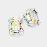 Rectangular Rhinestone Clip On Earrings