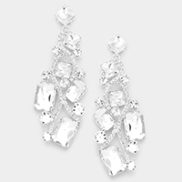 Square Cluster Rhinestone Evening Earrings