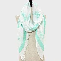 Anchor Pattern Viscose Spring Pareo / Scarf