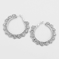 Pave Crystal Soleil Hoop Earrings