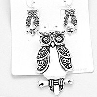 Wisdom Owl Earrings Pendant Set