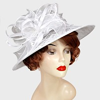 Ribbon Bow Lace Accented Dress Hat