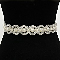 Pearl embellished rhinestone sash ribbon wedding belt / Headband