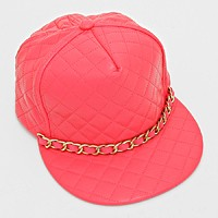 Chain Trimmed Quilted Faux Leather Snap Back Cap