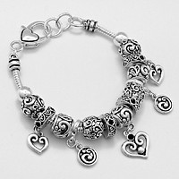 Filigree Heart Full Charm Bead Bracelet