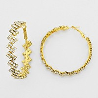 Pave Rhinestone Hoop Earrings