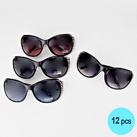 12PCS - Crystal Accented Square Sunglasses