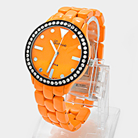 Rhinestone Accented Metal Fashion Watch