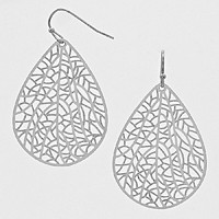 Filigree Teardrop Metal Disc Earrings