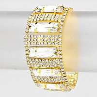 Square Rhinestone Accented Evening Bracelet