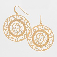Filigree Disc Metal Earrings