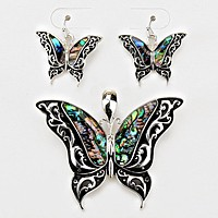 Butterfly Abalone Embedded Pendant Set