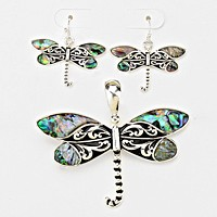 Dragonfly Abalone Embedded Pendant Set