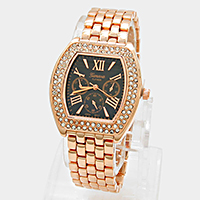 Crystal Trim Metal Watch