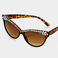 Floral Crystal Accented Cat eye Sunglass