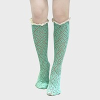 Lace Accented Knee High Socks