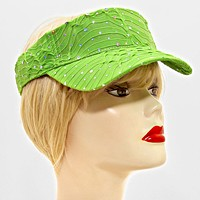 Crystal Accented Ruffled Fashion Visor