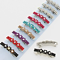 12 PCS - Assorted Crystal Flower Hair Barrettes
