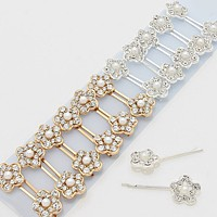 24-PCS Pearl & Crystal Flower Hair Pins