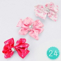 Crystal Accented Pink Ribbon Bow Hair Clip