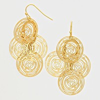 Rose Cut Out Disc Cluster Earrings