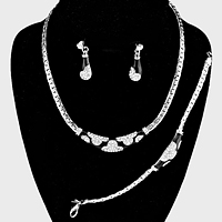 Rhinestone Accented Metal Chain Necklace Jewelry Set