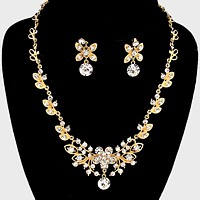 Floral Rhinestone Necklace