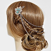 Draped Chain Floral Hair Snap Clip