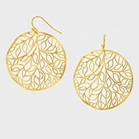 Round Metal Leaf Cutout Disc Earrings