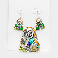 Spiral Mosaic Abalone accented Pendant Set