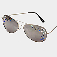 Petal Crystal Accented Aviator Sunglasses