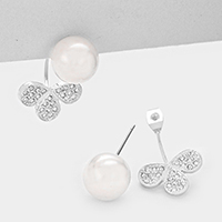 Crystal Petal Accented Pearl Ear Jacket Stud Earrings