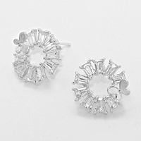 Butterfly Accented Crystal CZ Stud Earrings
