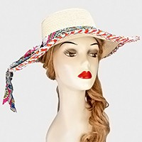Paisley Pattern Bow Accented Sun Hat