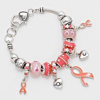 Pink Ribbon Multi Bead Bracelet