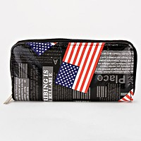 American Flag Zip around Wallet