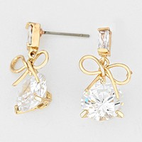 Bow Accented Crystal CZ Earrings