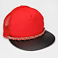 Chain Accented Mesh Back Fashion Cap