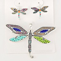 Bead Accented Dragonfly Pendant Set