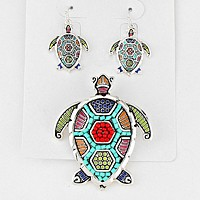 Bead Accented Turtle Pendant Set