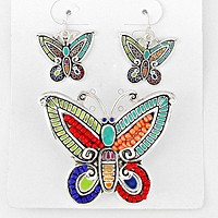 Bead Accented Butterfly Pendant Set
