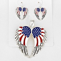 American Flag Wings Pendant Set