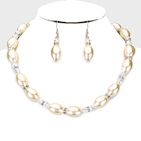 Crystal Accented Pearl Strand Necklace