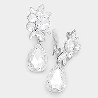 Glass Crystal Teardrop Clip On Earrings