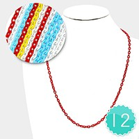 12 PCS - Colored Chain Necklaces