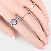 3-PCS Crystal Pave Evil Eye Ring Set