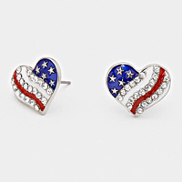 Heart American Flag Stud Earrings