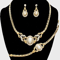 Pearl Accented Rhinestone Necklace Jewelry Set