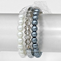 Glass Bead Accented Pearl Stretch Bracelet