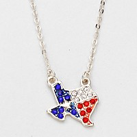 Crystal Pave Texas State map Pendant Necklace